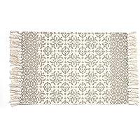 Cotton Printed Rug, Seavish Decorative Light Tan Moroccan Kilim Rug Hand Woven Rag Rug Entryway Thin Throw Mat For Laundry Room Living Room Dorm, 2x3