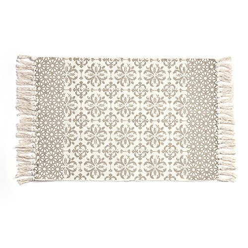 Aimdoo Cotton Printed Rug, Decorative Grey Moroccan Hand Woven Rag Rug Entryway Thin Throw Mat for Laundry Room Living Room Dorm, 2x3 by Aimdoo