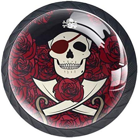 Lade Handgrepen Kabinet Knoppen Ronde Pack van 4 voor Kast Lade Borst Dressoir etcRode Rose Piraat