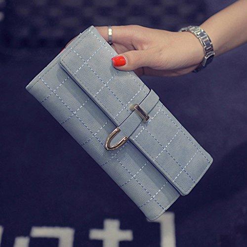 Blesiya Pu Cartera Monedas Monedero Triple Tarjetas De Embrague Mujer Teléfono Mensajero Cuero B Azul Bolso Largo Para RUCBwqwF