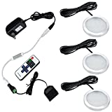 Aiboo LED Under Cabinet Lighting Kit 3X2W 12V LED Puck Lights with RF Dimmable and US Plug for Kitchen Lighting Book Shelf Light Under Counter Lighting Accent Lighting (Warm White 3000K)