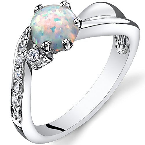 Cabochon Cluster Ring - Created Opal Love Waves Ring Sterling Silver Round Cabochon Size 7