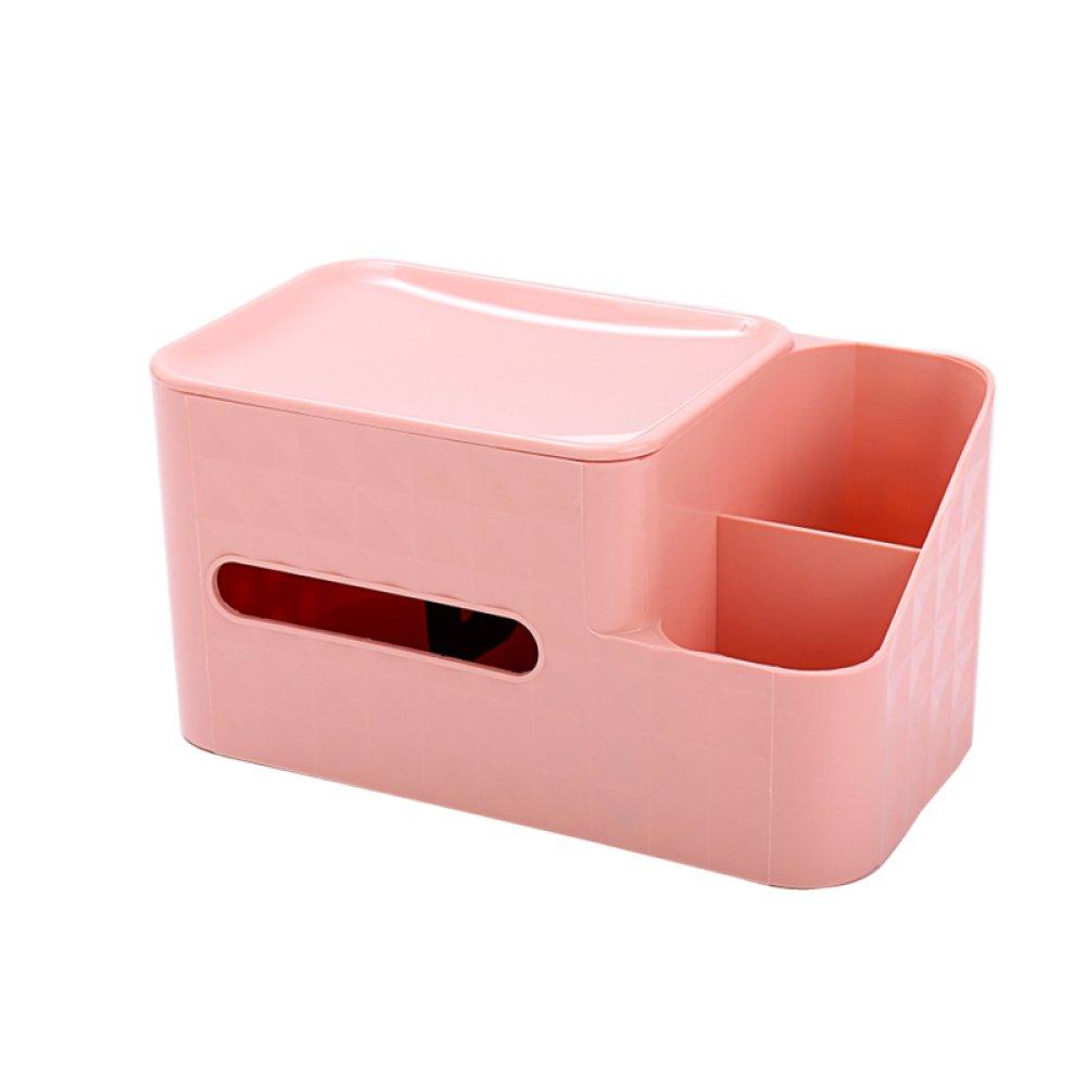 DHG Multifunctional Book Box Tissue Box Home Living Room Coffee Table Remote Control Storage Box European Creative Napkin,Pink,Average code