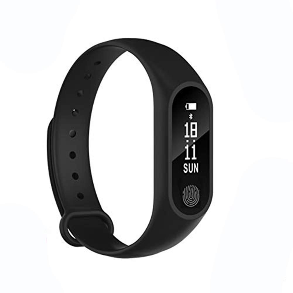 Black - M2 Heart Rate Wristband, Waterproof Smart Fitness Activity Tracker, Heart Rate Monitor for iPhone iOS Android