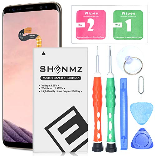 Galaxy S8 Battery,3200mAh SHENMZ Replacement Kit for Samsung Galaxy S8 SM-G9508 SM-G G9500 EB-BG950ABE Lithium Polymern Internal Battery with Tools [18 Month Warranty]