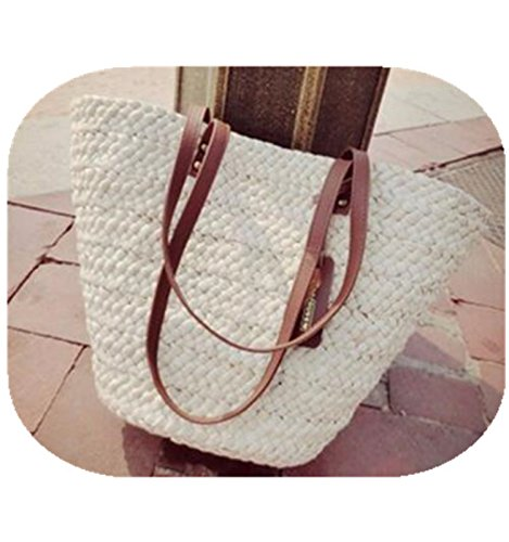 Daniel Brand Chic Design Knitting Women Handbag Summer Beach Bag Woman Straw Bags Women'S Travel Rattan Bag For Holiday White