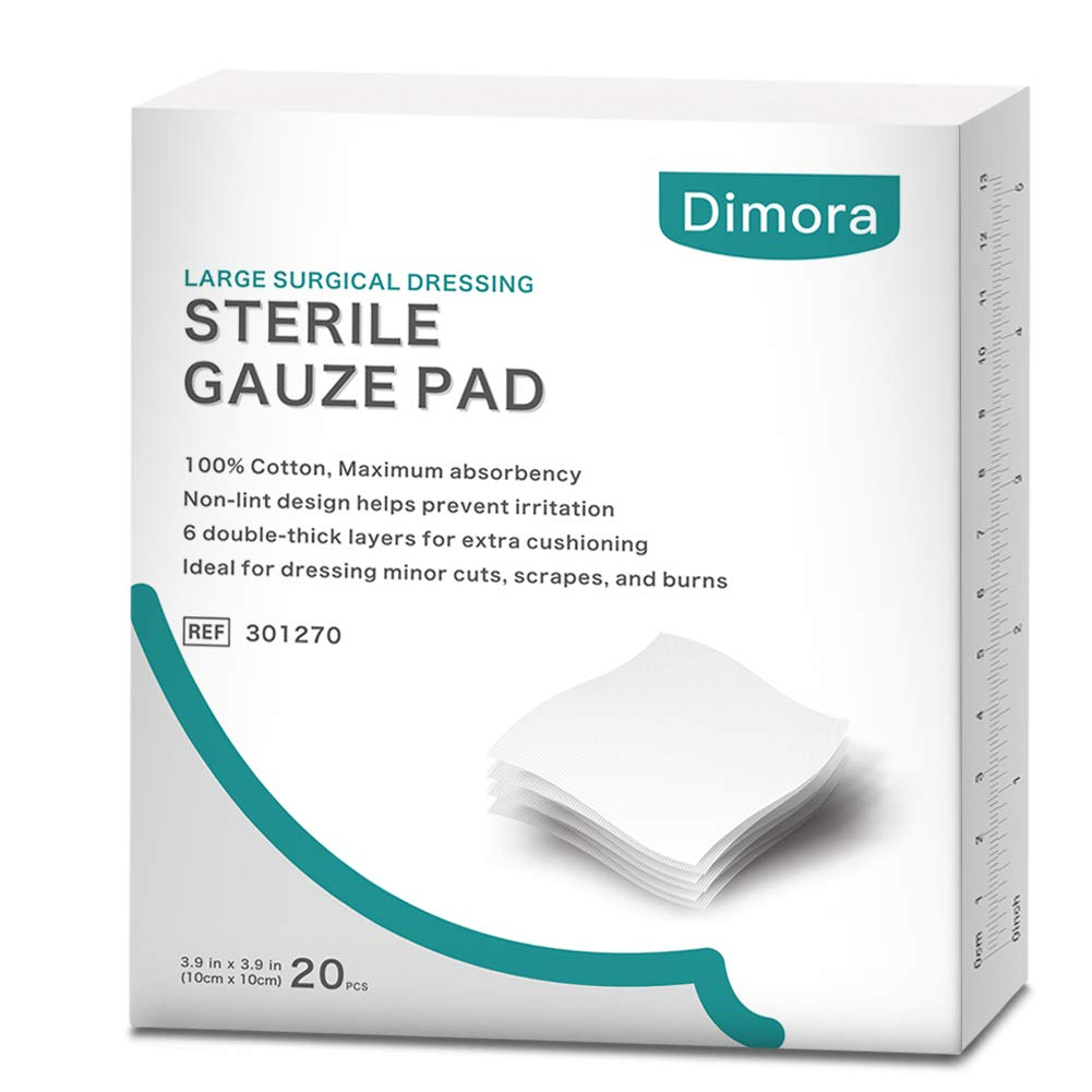 Surgical Dressing, 100% Cotton Fist aid Medical Gauze Pads, Sterile Wound Dressing, Non-Stick Absorption Cotton Pads, Individually Wrapped 6-Ply 4 x 4 inches (20 Pcs) by Dimora