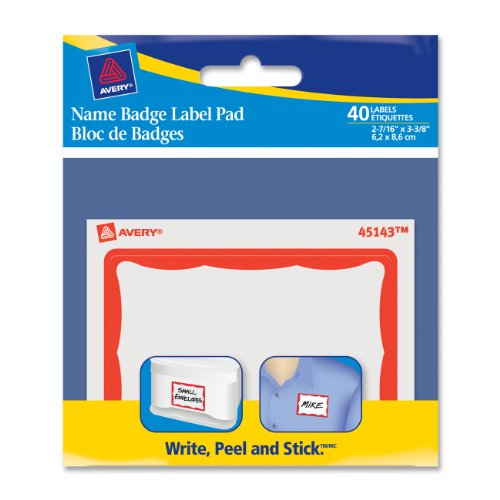 Avery Border Name Badge Label Pad, Red, 40 Labels (45143)