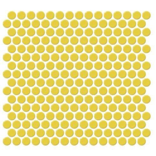 Vogue Tile Yellow Penny Round Porcelain Mosaic (Box of 10 Sqft), Floor and Wall Tile, Backsplash Tile, Bathroom Tile on 12x12 Mesh for Easy Installation