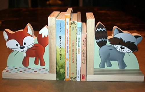 Forest Animal Woodland Friends Kids Bedroom Baby Nursery Wood Bookends BE0009 by Toad and Lily