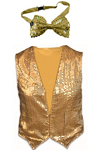 Dazzled Adult Gold Sequin Vest and Lightup Bowtie Standard Dance Costume Kit ()