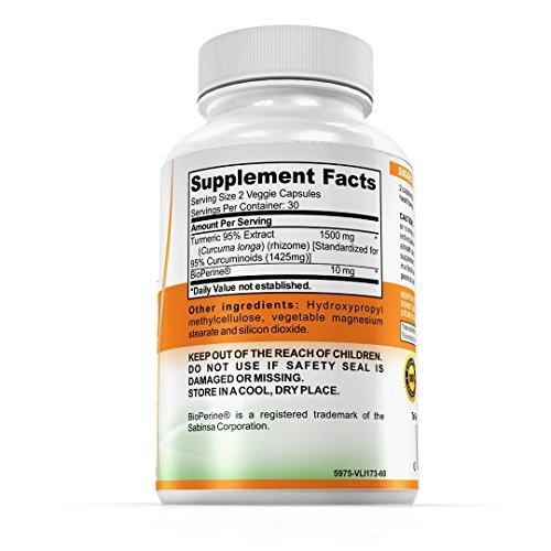 VitaLYFE - Turmeric1500 95% Curcumin Extract + BioPerine®, 1500mg Turmeric Per Serving, Made in USA, 1-month supply (60 Veggie Capsules)