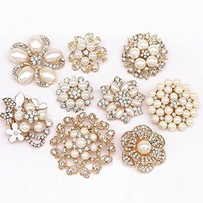 Lot 9pcs Rose Gold-tone Rhinestone brooches, eGlomart Big Pearl Crystal wedding bouquet kit set