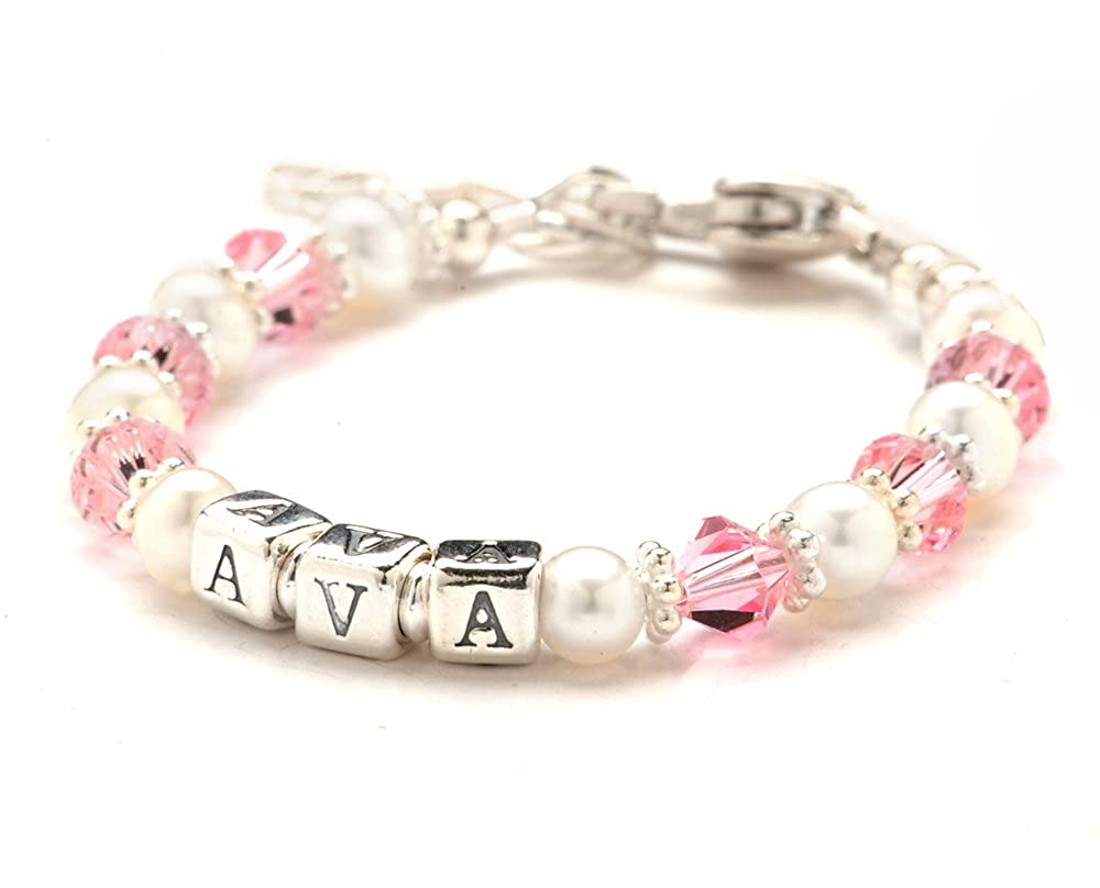 Baby Pink Crystal, Cultured Freshwater Pearl & Sterling Silver Name Bracelet Lily Brooke Lily Brooke Jewelry LBB-071C
