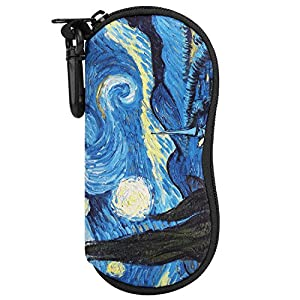 MoKo Eyeglass Soft Case, Neoprene Sunglasses Pouch with Clip - Starry Night