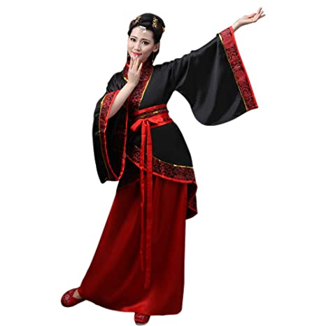 DAZISEN Ropa de Mujer Traje Tang - Traje Tradicional de Estilo Chino Antiguo Vestidos de Hanfu para Actuaciones Cosplay