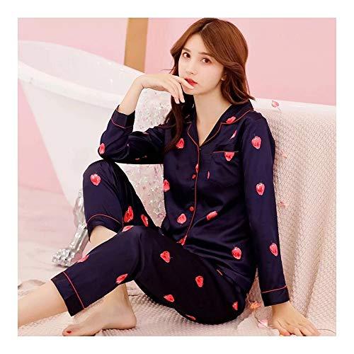 Haoliequan Cao Long Elegant Pyjama X Sets Silk Suit Sleeve Sleepwear Girl Comfortable Mei Lan Luxury Pajama Nightgown Print C Set Women ggnxFrvqf
