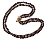 Liz Claiborne Wooden Bead Strand Necklace with Red Cabochon Bee Closure