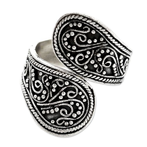 NOVICA .925 Sterling Silver Floral Paisley Wrap Ring, Together'