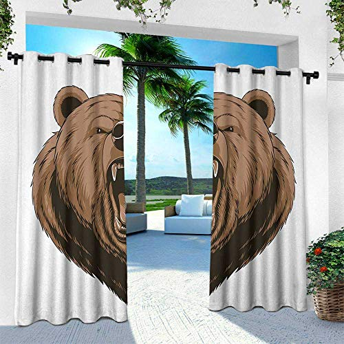 Bear, Thermal Insulated Water Repellent Drape for Balcony,Angry Scary Face Powerful Vicious Beast Mascot Cartoon Character with Fangs, W96 x L84 Inch, Caramel Dark Brown