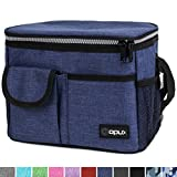 OPUX Premium Insulated Lunch Bag for Women, Men, Adults | Lunch Box with Shoulder Strap, Pocket, Soft Leakproof Liner | Medium Lunch Cooler for School, Work | Fits 6 Cans (Heather Navy)