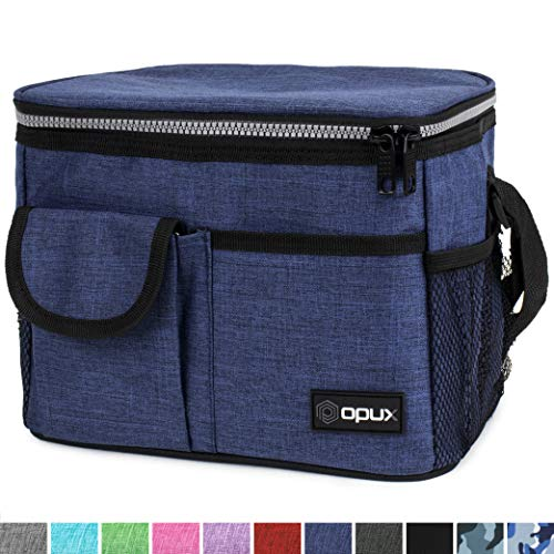 OPUX Lunch Bag Insulated Lunch Box for Women, Men, Kids | Medium Leakproof Lunch Tote Bag for School, Work | Lunch Cooler with Shoulder Strap, Pocket | Fits 8 Cans (Navy) (Lunch Cooler With Shoulder Strap)