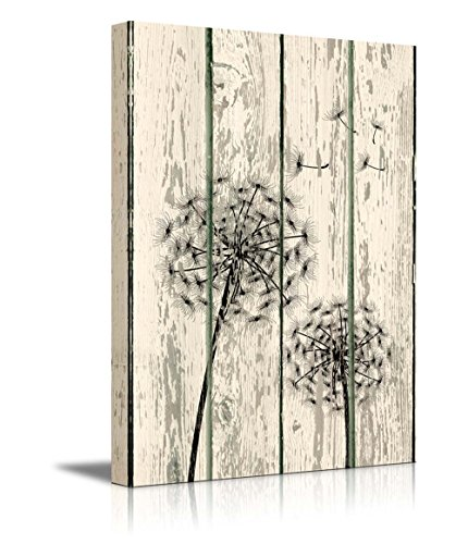Dandelion on Vintage Wood Board Background Rustic ation