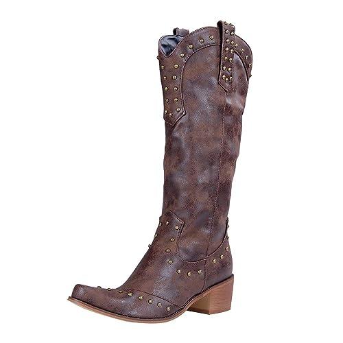 Manooby Botte de Cowboy Western Cowgirl Femmes Bottines Rétro Bottes de  Combat Santiags Vintage Femme à Bout Pointu Dames Large Mollet Bottes