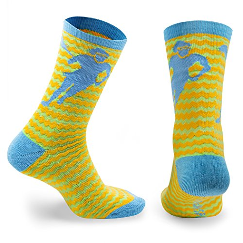 ChalkTalk SPORTS Athletic Half Cushioned Lacrosse Crew Socks  Mid Calf  Zig Zag Lacrosse Design  Green, Blue and Yellow,One Size Fits Most ()