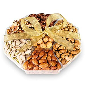 Gourmet Roasted Nuts Gift Basket - Large 7 Section Tray - Elegant Ribbon No Need to Wrap - Double Sealed to Prolong Freshness - 10x10x2 in - Healthy Vegan Food gift baskets - By Nut Crafts