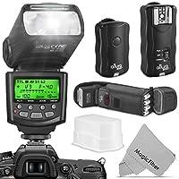 Kit de flash profesional Altura Photo para NIKON DSLR - Incluye: flash I-TTL (AP-N1001), conjunto de disparador de flash inalámbrico y accesorios