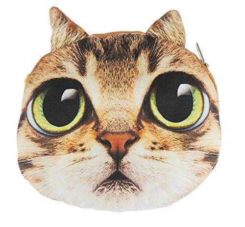 Adorable gato cara de gato pequeño bolso de mano bolso de hombro Beige Tabby Large Black Green Eyes