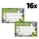 Blue Orchards Mining Fun Party Invitation Bundle Sets (16 Pack w/Envelopes)