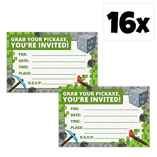 Mining Fun Party Invitation Bundle Sets (16 Pack w/Envelopes)