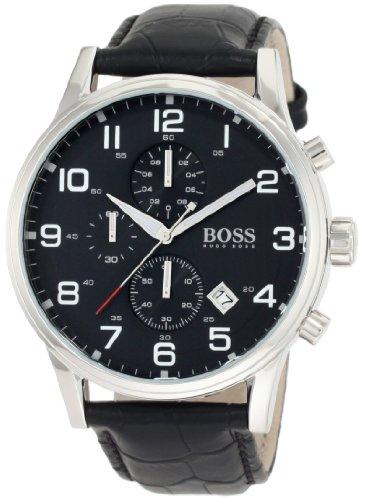 Hugo Boss 1512448 Black Leather Chronograph Mens Watch - Black Dial