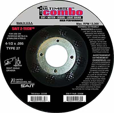 United Abrasives 22330 Ultimate Combo Wheel Cut, Notch, Debur and Light Grind, High Performance, 4-1/2 by .095 by 7/8-Inch, 25-Pack