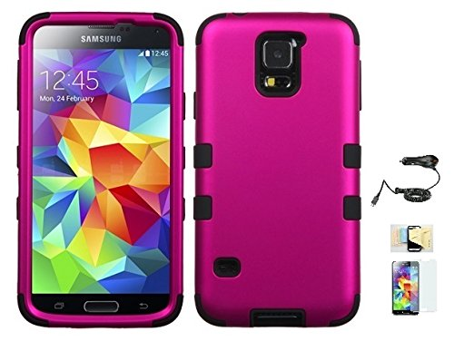 Price comparison product image Galaxy S5 Case ,(Pink+Black), Hybrid Hard Soft Durable Bumper Armor Back Cover for Samsung Galaxy S5, Included Momiji® (Screen Protector, Cleaning Cloth, Car Charger), Samsung Galaxy S5 Case