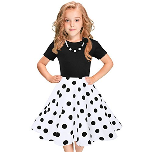 IBTOM CASTLE Girls 50s 'Audrey' Vintage Swing Rockabilly Retro Party Dress for Kids Hepburn Patchwork Polka Dots Costume Short Ball Gown #3-Black&White Dots+Necklace 10-11 Years ()