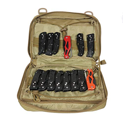 Super Pocket Knife Bag, Tactical Knife Storage Case, Folding Knife Collecting Pouch, Large Capacity Small Knife Carrier Protectors, Versatile Knife Small Tools Holder (HGJ363) (Khaki)
