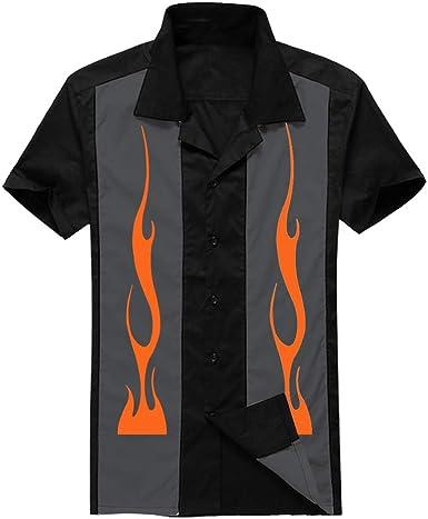 Candow Look Camisa para Jugar a los Bolos para hombrec amiseta Estilo Vintage de los Anos 50 Flame Printed: Amazon.es: Ropa y accesorios