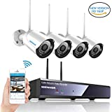 Wireless Security Camera System,SZSINOCAM 4 Channel WiFi Camera Full HD 1080P NVR Wireless CCTV Camera Systems 4 x 960P IP Cameras WiFi Transmission,Enhanced Wireless Antenna,All Weather Adaptation