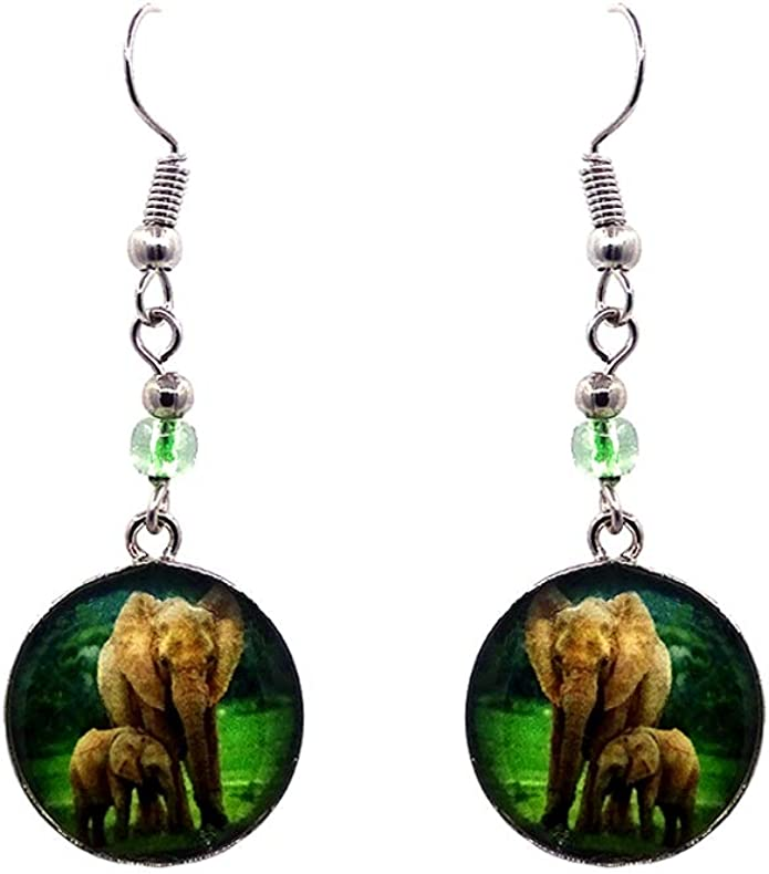 Mia Jewel Shop Lion Animal Round Silver Dangle Earrings