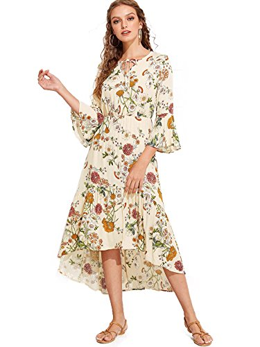 Tropical Multicolor Long 2 Print Casual Dress Milumia Women's Floral 0qw5U7PP