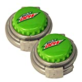 Jokari 2 Count Mtn Dew Modern Logo Soda Can Pump and Pour Caps, Green