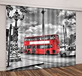 LB City Bus Scenery Window Curtains for Bedroom Living Room,Red Buses on the Streets of London Room Darkening 3D Blackout Curtains Drapes 2 Panels,28 by 65 inch Length