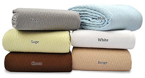Cotton Throw Blankets (QUEEN - 90 X 90 Inches, Sage Green) Breathable Thermal Cotton Blanket Ultra Cozy Light Weight Herringbone / Chevron Weave Design, Easy Care by Queenz Living (Pier One Blanket)