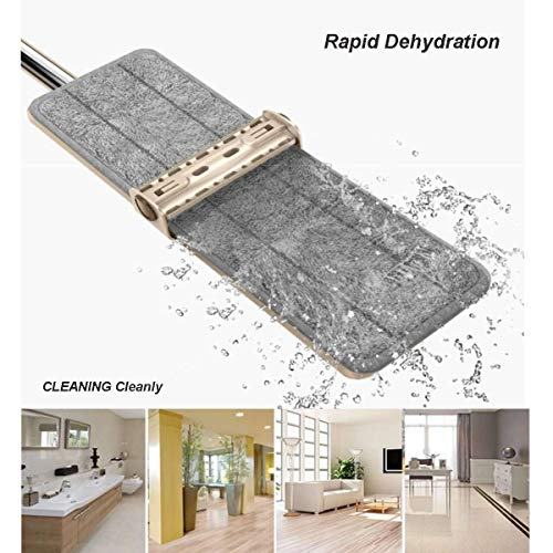 Choreau Microfiber Dust Floor Mop,360 Degree Spin Self Wring and Scrapper Design Mopping with 4 Wet & Dry Mop Cloth for Hard Wood Floor Tile Kitchen Cleaning -15.7'' X 4'' X 63'' by Choreau (Image #5)