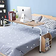 Cocoarm Overbed Table with Wheels,Height Width Adjustable Laptop Cart Mobile Computer Desk Sofa Table with Heavy-Duty Metal Legs, Super Sturdy and Stable for Home Office and Hospital (Oak, S)