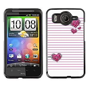 For HTC Desire HD / G10 / inspire 4GCase , Pink Silver Glitter White Lines Pattern - Diseño Patrón Teléfono Caso Cubierta Case Bumper Duro Protección Case Cover Funda