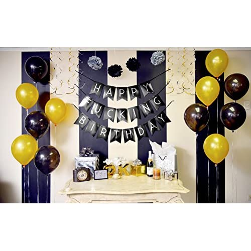 Well Wreapped Sterling James Co Funny Birthday Party Pack Black Silver Happy